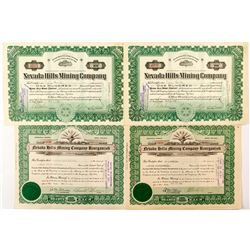 4 Nevada Hills Mining Company Stock Certificates (Fairview, Nevada)