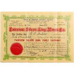 Fairview Silver King Mines Stock Certificate, Nevada 1907