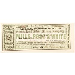 Mills, Post & White Consolidated Silver Mining Company Certificate, 1865
