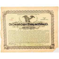 The Tonopah Copper Mining and Milling Co. Certificate