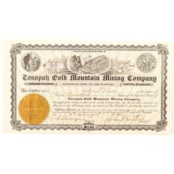 Tonopah Gold Mountain Mining Company Certificate signed by Butler