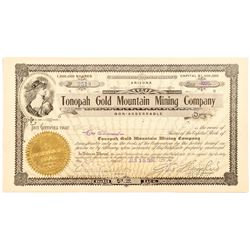 Tonopah Gold Mountain Mining Company Certificate signed by Wingfield