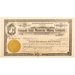 Tonopah Gold Mountain Mining Company Stock Certificate signed by Wingfield