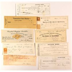 Virginia City, NV Check Collection 5 (incl Fair signature & NV revenue stamps)