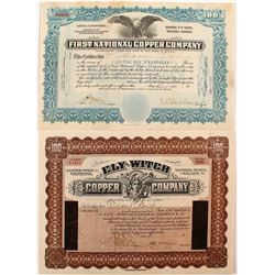 Ely-Witch Copper Company & First National Copper Company Stock Certificates