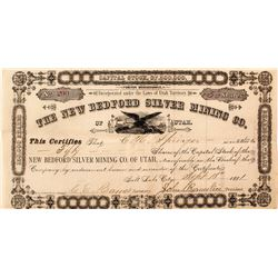 New Bedford Silver Mining Co. of Utah Stock Certificate (Territorial)