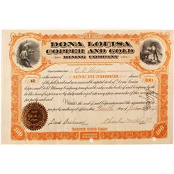 Dona Louisa Copper and Gold Mining Company Stock Certificate