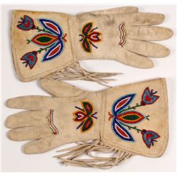 Beaded Leather Gauntlet Gloves