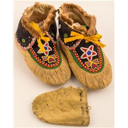 Beaded Moccasins w/ Mink Edging