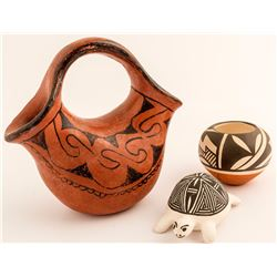 Stella Teller Pot, Maricopa Wedding Vase. and Acoma Turtle