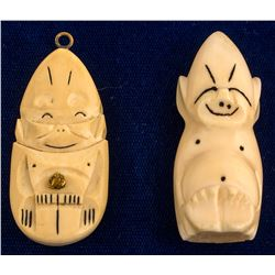 Two Ivory Cupie Doll Style Pendants