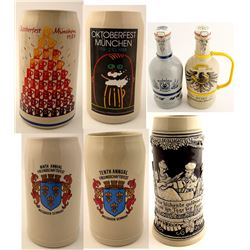17 German Beer Steins and 2 Growlers