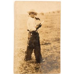 Real Photo Postcard Cowboy in Chaps 1912