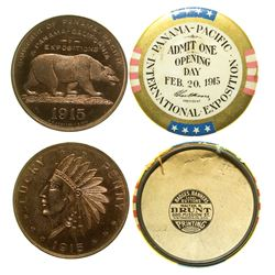 "Pan Pacific Exposition ""Lucky Penny"" and Opening Day Badge"