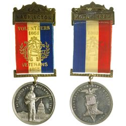 Grand Army of the Republic Badge w/ White Metal Medallion