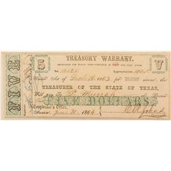 Texas Treasury Warrant 1864