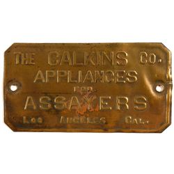 Calkins Company Brass Plaque (Assaying Equipment)