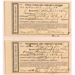 Two Montana Wells Fargo Gold Dust Receipts