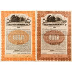Two Different Chicago, Aurora and Elgin Corporation Bonds (1922)