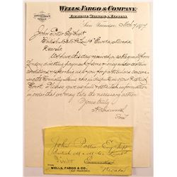 Wells Fargo Cover and Letter on Letterhead addressed to Pinto, Nevada