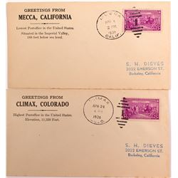 Two Covers Showing Extreme Post Office Elevations