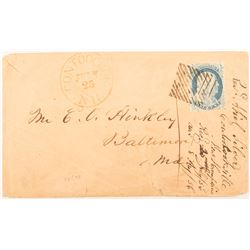 1856 Cover with Rare One Cent Blue Ben Franklin Stamp.