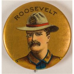 Rare Theodore Roosevelt Button w/ Army Hat
