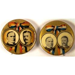 2 Slightly Different McKinley and Roosevelt Jugate Buttons
