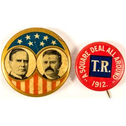 2 Theodore Roosevelt Political Buttons