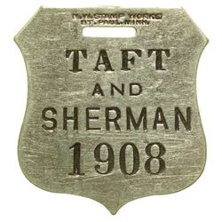 Taft and Sherman 1908 Campaign Watch Fob