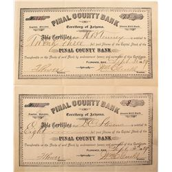 Pinal County Bank Stock Certificates