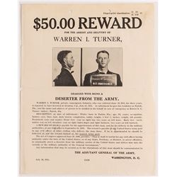 Wanted Poster for WWI Deserter at Alcatraz