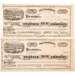 Peoples Ice Company Stock Certificates (Comstock Ice Operation)