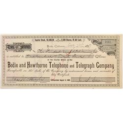 Bodie and Hawthorne Telephone and Telegraph Co. Stock Certificate issued to Bodie Mine