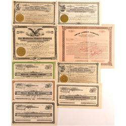 Group of 9 Different Mendocino County Lumber Stock Certificates (California)