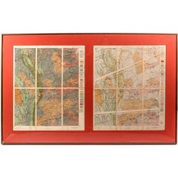 2 USGS Quadrangle Sheets, Framed, c1890