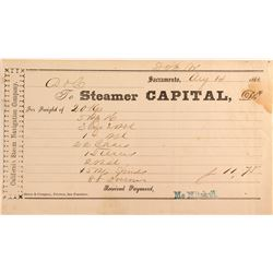 "Steamer ""CAPITAL""  Billhead, California 1868"