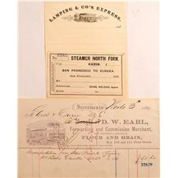 Gould and Curry Mining Candle Receipt and Other Transportation Documents