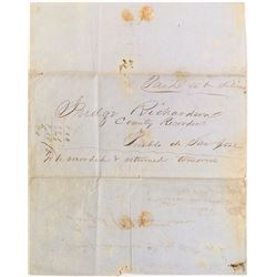 Stampless, coverless 1850 California Letter