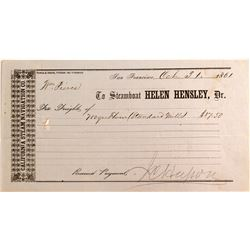"""HELEN HENSLEY"" Steamer Billhead, San Francisco 1861"