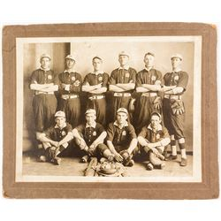 Early Mounted Baseball Team Photograph