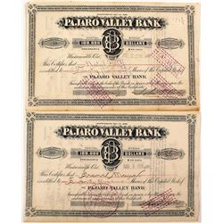 Two Pajaro Valley Bank Stock Certificates