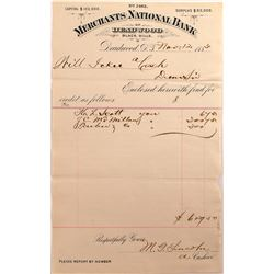 Merchants National Bank of Deadwood Letterhead