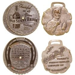 Clarke's Pure Rye Whiskey Watch Fob/ Old Sunny Brook Calendar