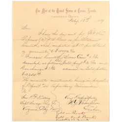 Carson City Mint Letter on Letterhead to the Honorable R. P. Keating