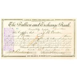 Bullion and Exchange Bank Certificate issued to J.B. Overton, signed by Kirman (future governor)