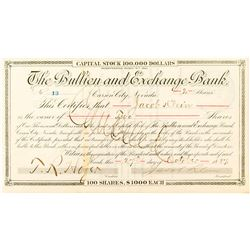 Bullion and Exchange Bank Certificate issued to Jacob Klein