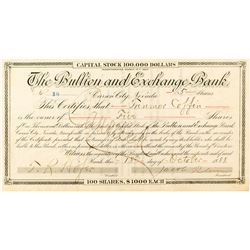 Bullion and Exchange Bank Certificate to Trenmor Coffin