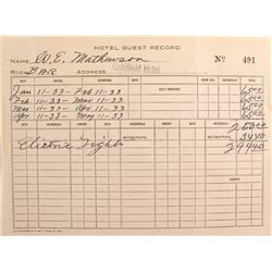 "Goldfield Hotel ""Hotel Guest Record""- Four Months Bar Rental? 1933"