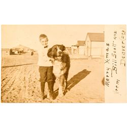 Real Photo Christmas Postcard of BIll Scott and his dog Denver (Goldfield, NV)
